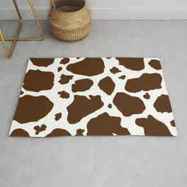 cow spots animal print dark chocolate brown white Rug