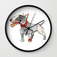 bull terrier Wall Clocks featuring Bull Terrier by Paola Canti