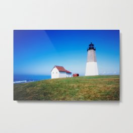 The Point Judith Light is located on the west side of the entrance to Narragansett Bay Metal Print