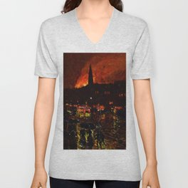 Classical Masterpiece 'Alarm Firelight - Boston' by Frederick Childe Hassam Unisex V-Neck