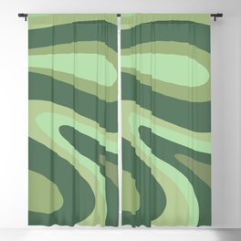 Retro Liquid Swirls Abstract Pattern in Basil and Mint Green Blackout Curtain