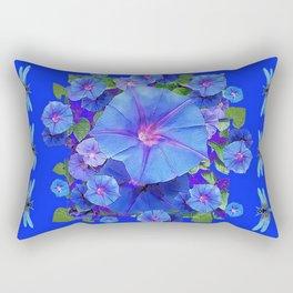 BLUE MORNING GLORIES DRAGONFLIES ART Rectangular Pillow