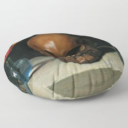 Life, Death, & Time; still life portrait painting with a Skull and Tulip by Philippe de Champaigne Floor Pillow