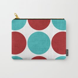 modern dots - aqua and red Carry-All Pouch