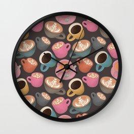 Autumn Coffee in Grey  Wall Clock