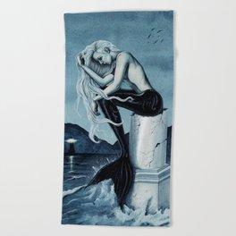 Stormy Seas Gothic Mermaid Beach Towel