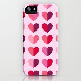 Retro pink Valentine's Day half-hearts iPhone Case