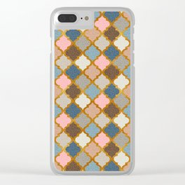Regal Quatrefoil in Blush Pink and Gold Clear iPhone Case