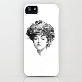 Gibson Girl with Green Eyes and Pink Lips iPhone Case