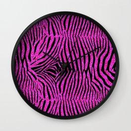 Pink Glitter Zebra Print Wall Clock
