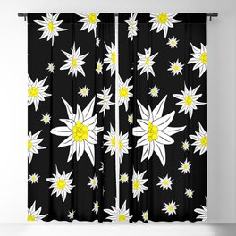 Edelweiss Pattern On Black Blackout Curtain