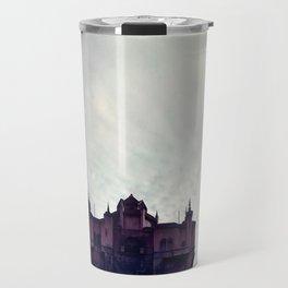 Haunted Hotel Under Cloudy Sky Travel Mug