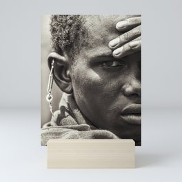 4335 Portrait of Tanzania Maasai Warrior - Africa Mini Art Print
