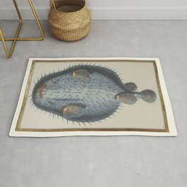 Pufferfish 18th century French manuscript hand drawn and coloured - Blue Print Rug