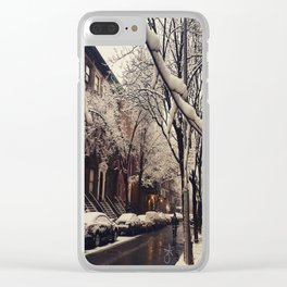 Photo of the beautiful Brooklyn Heights covered in icy snow Clear iPhone Case