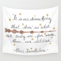 dumbledore Wall Tapestries featuring Choices Dumbledore J.K. Rowling Quote by Hayley Lang