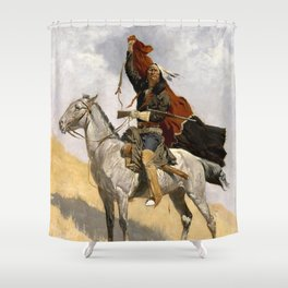 "Frederic Remington Western Art ""The Blanket Signal"" Shower Curtain"
