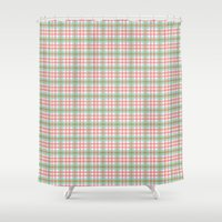 preppy Shower Curtains featuring Preppy Plaid by Laura