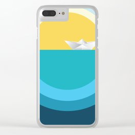 Paper boat in the sea Clear iPhone Case
