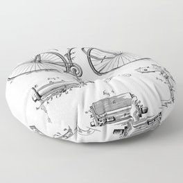Bicycle Patent - Cyclling Art - Black And White Floor Pillow