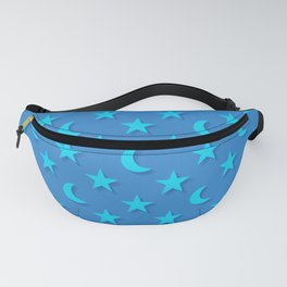 Blue moons and stars pattern Fanny Pack