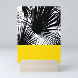 Black and White Tropical Palm Leaves on Sunny Yellow Mini Art Print