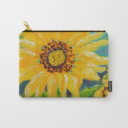 Image of my bright and cheerful Sunflower acrylic painting Carry-All Pouch