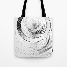 White on Black Circular Fractal of a Jinbaori Samurai Symbol Tote Bag