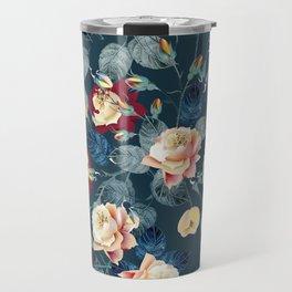 Elegant flower vector rose pattern in classic vintage style for design Travel Mug