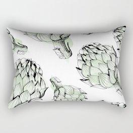 Artichoke backdrop. Seamless pattern artichoke sketch. Hand-drawn artichokes without background. Rectangular Pillow