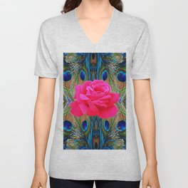 FUCHSIA PINK ROSE & BLUE PEACOCK FEATHERS ART ABSTRACT Unisex V-Neck