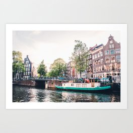 Amsterdam House Boats on Canal | Europe City Travel Urban Landscape Photography Art Print