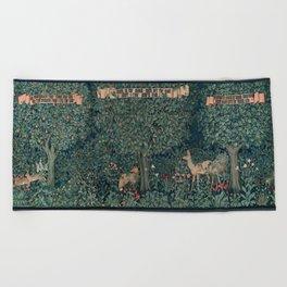William Morris Forest Fox Tapestry Beach Towel