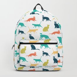 Colorful Cat Pattern Minimal Happy Bright Backpack