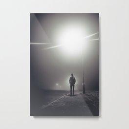 A Man In Fog Metal Print