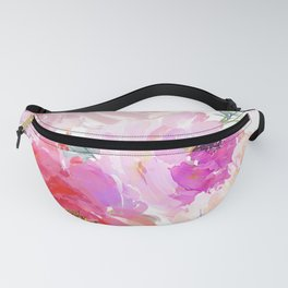 Big Watercolor Flowers in Violet and Pink Fanny Pack