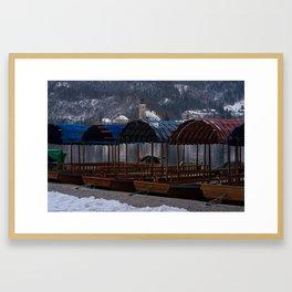 Pletna Boats At Bled Lake Framed Art Print