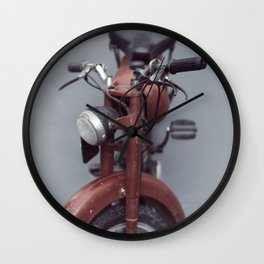 Motorcycle photography, old motorbike, man cave wall art, gift, mancave sign Wall Clock
