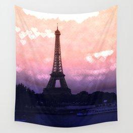 Paris Pastel Heart Bokeh Wall Tapestry