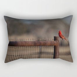 Cardinal On The Fence Rectangular Pillow