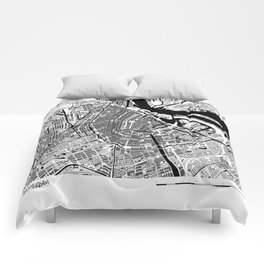 AMSTERDAM BLACK & WHITE MAP Comforters