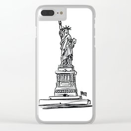 Statue of Liberty black and white minimalist sketch illustration. New York Destination Art Clear iPhone Case