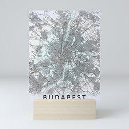 Budapest, Hungary, White, City, Map Mini Art Print