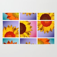 sunflowers Area & Throw Rugs featuring sunflowers by mark ashkenazi
