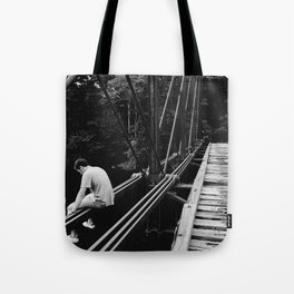 Boy on the Edge Tote Bag