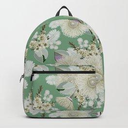 Australian Bush Flowers - Vintage Green and Cream Backpack