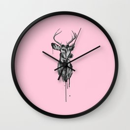 Deer Head III (pastel pink) Wall Clock