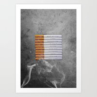 cigarettes Art Prints featuring Cigarettes by Marcelo Sazo