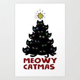 Meowy Catmas Cat Christmas Tree Art Print