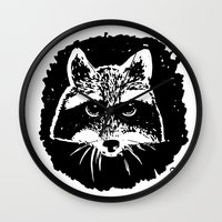 racoon Wall Clocks featuring Racoon by leart